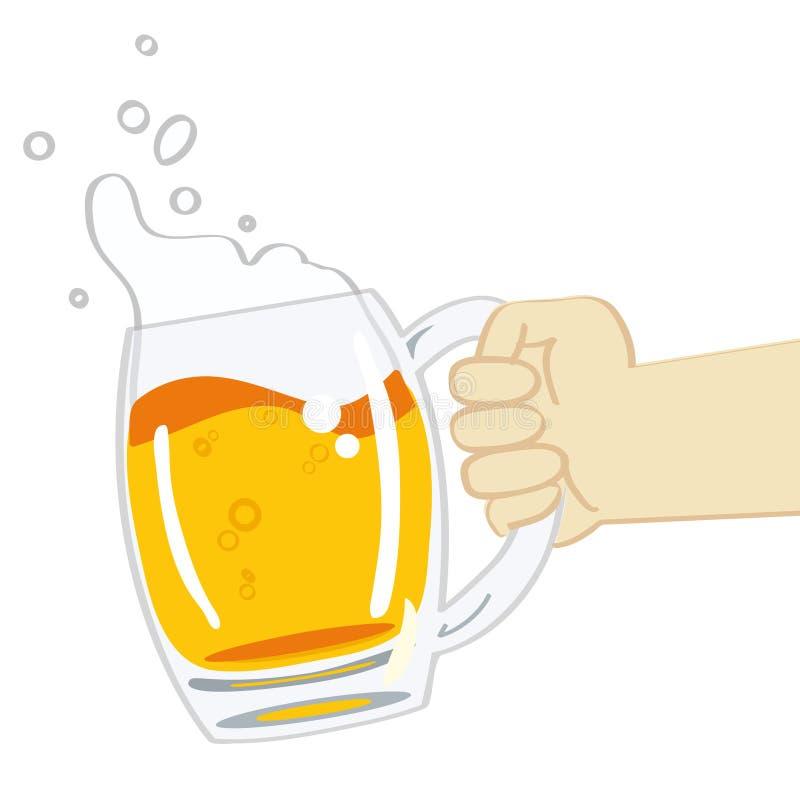Mug of beer vector. Hand holding a mug of beer - vector illustration on white background stock illustration