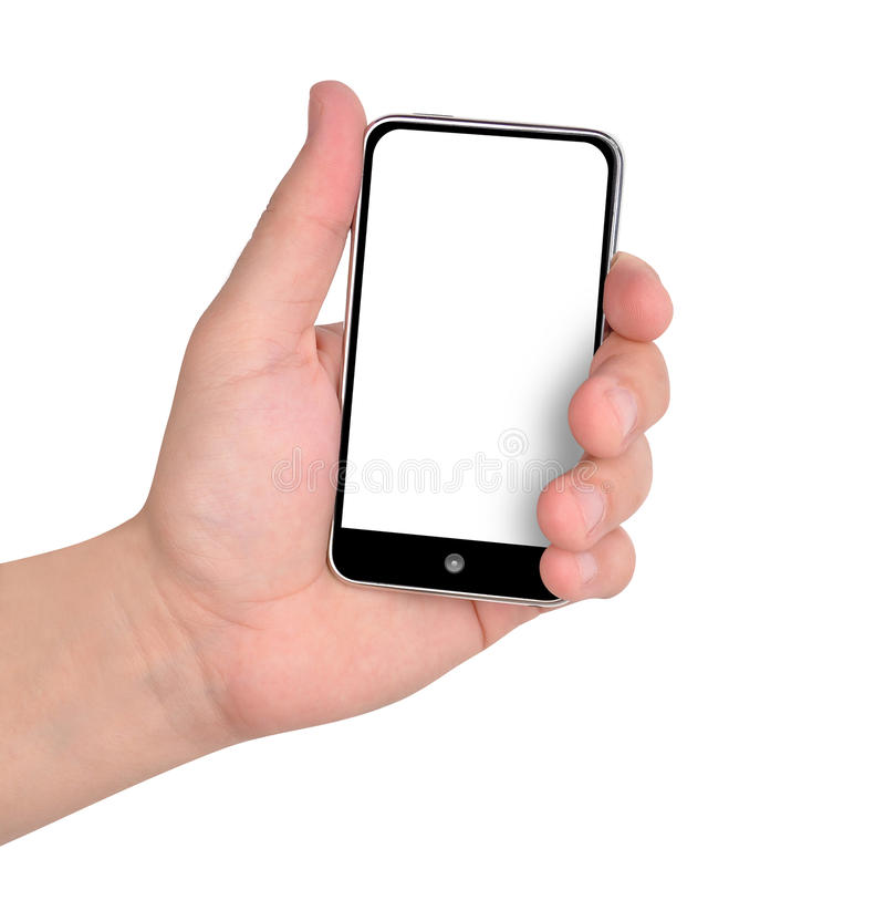 Free Hand Holding Music Phone On White Royalty Free Stock Photography - 17645067