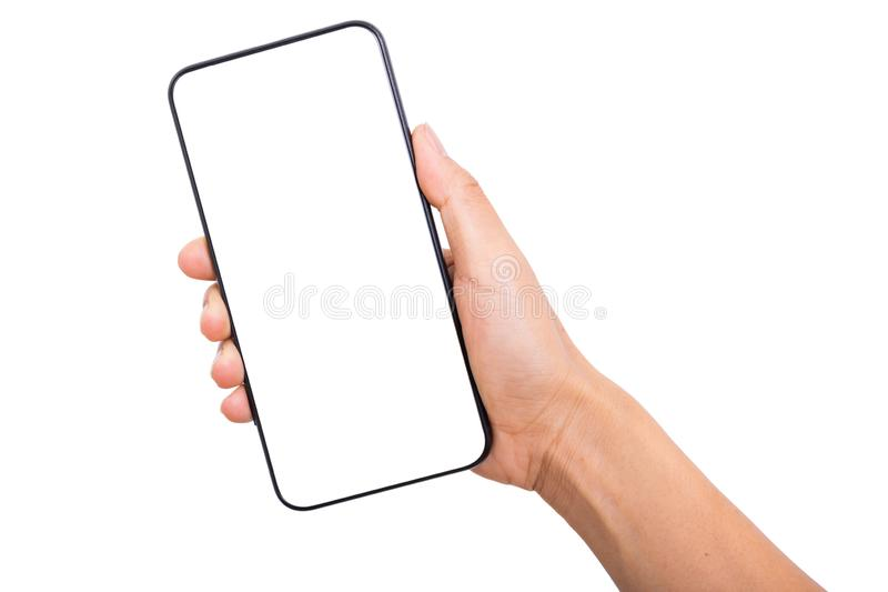 Hand holding new smartphone on white background royalty free stock photography