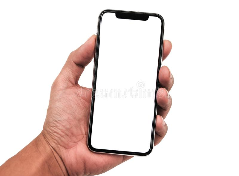 Hand holding, New version of black slim smartphone similar to iphone x. With blank white screen from Apple generation 10 , Front mockup model similar to iPhonex stock images