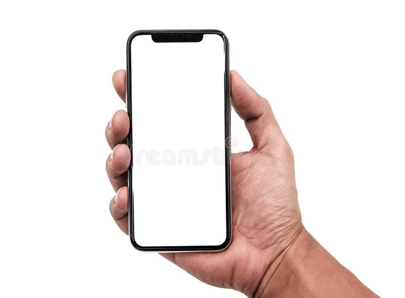 Hand holding, New version of black slim smartphone similar to iphone x. With blank white screen from Apple generation 10 , Front mockup model similar to iPhonex royalty free stock images