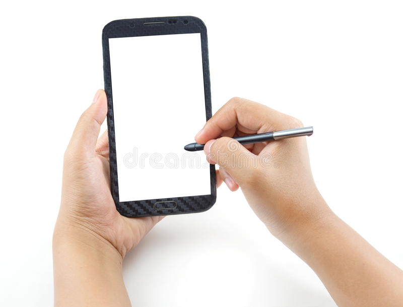 Hand holding and note on Black Smartphone with blank screen. On white background stock photos