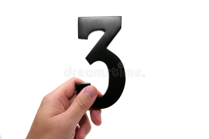 Hand holding number 3 stock image
