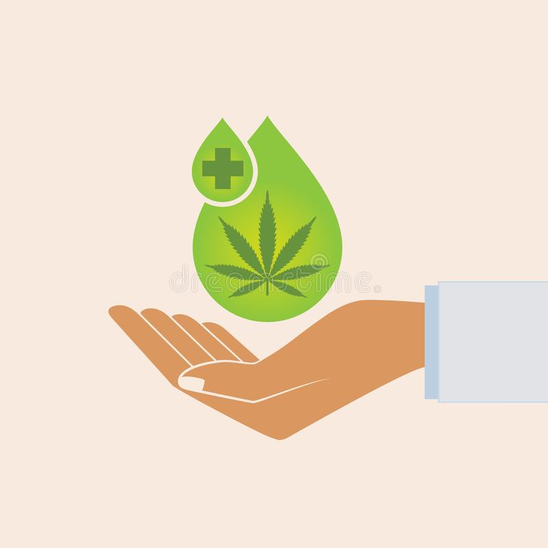 Hand holding oil drop with a marijuana leaf. Medical Cannabis oil. CBD oil cannabis extract. Natural Hemp oil. Icon product label. And logo graphic template royalty free illustration