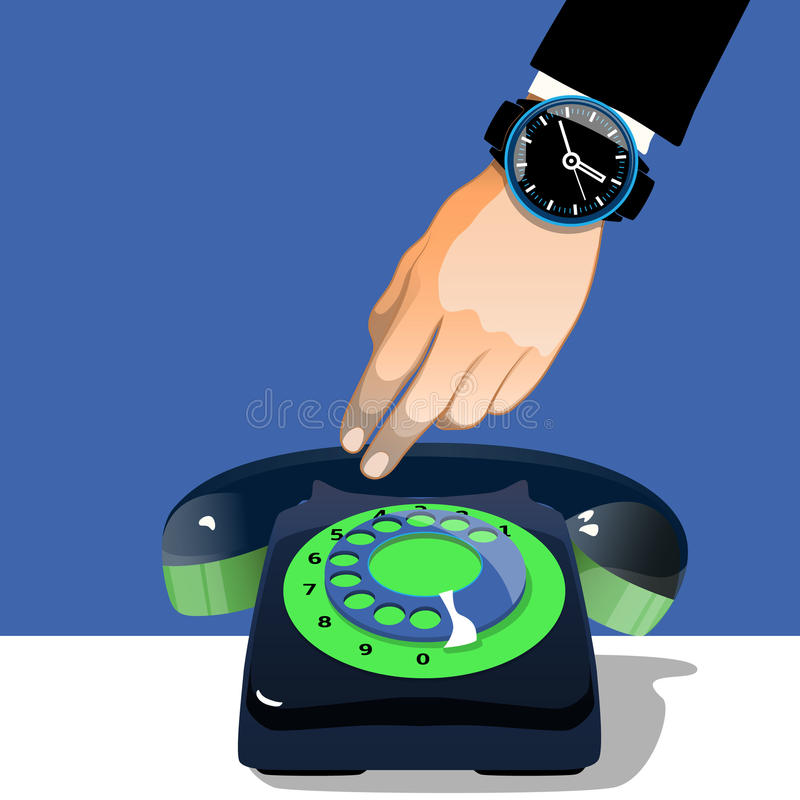 Download Hand Holding An Old Black And Green Telephone. Retro Illustration Stock Vector - Image: 83719240