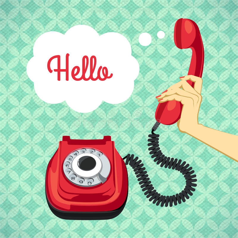 Hand holding old telephone. Retro poster vector illustration stock illustration