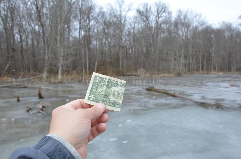 Hand holding one dollar bill in wetland area with frozen water. Hand holding one dollar bill or money in wetland area with frozen water and trees royalty free stock images