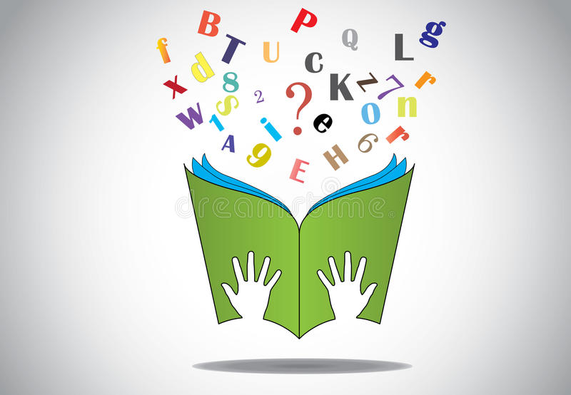 Hand holding open book with flying alphabets n question mark. Two little human or children hands holding a green study book with flying alphabet and question stock illustration