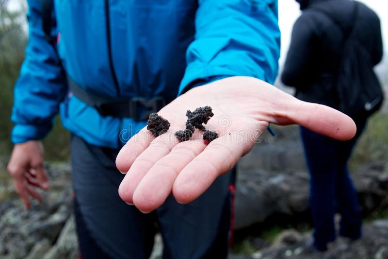 Hand holding out volcanic rock on Mount Etna, Sicily, Italy stock image