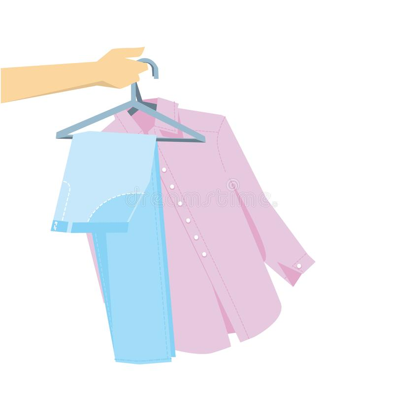 Hand holding pants and shirt on hangers. Simple laconic stock vector illustration stock illustration