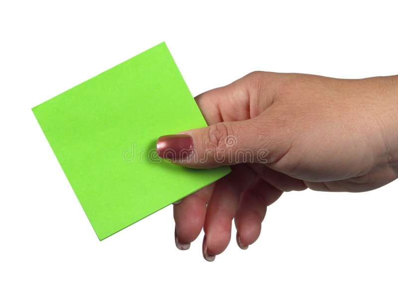 Hand Holding Paper stock photo