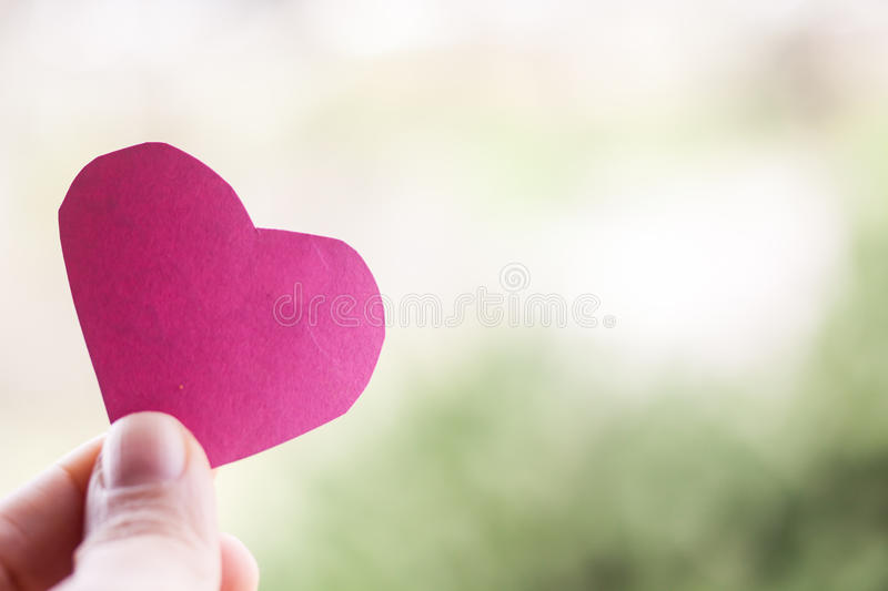 Hand holding paper heart stock images