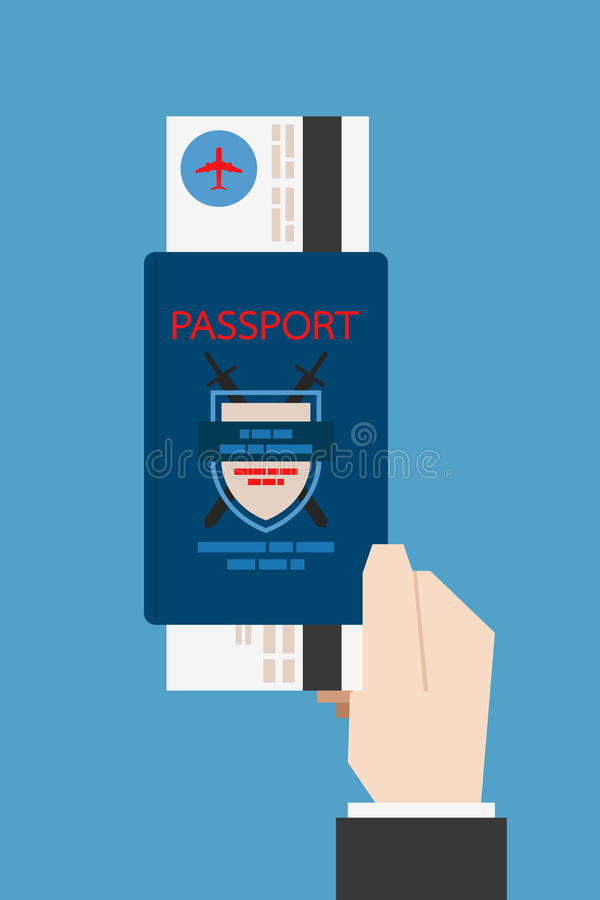 Hand holding passport stock illustration