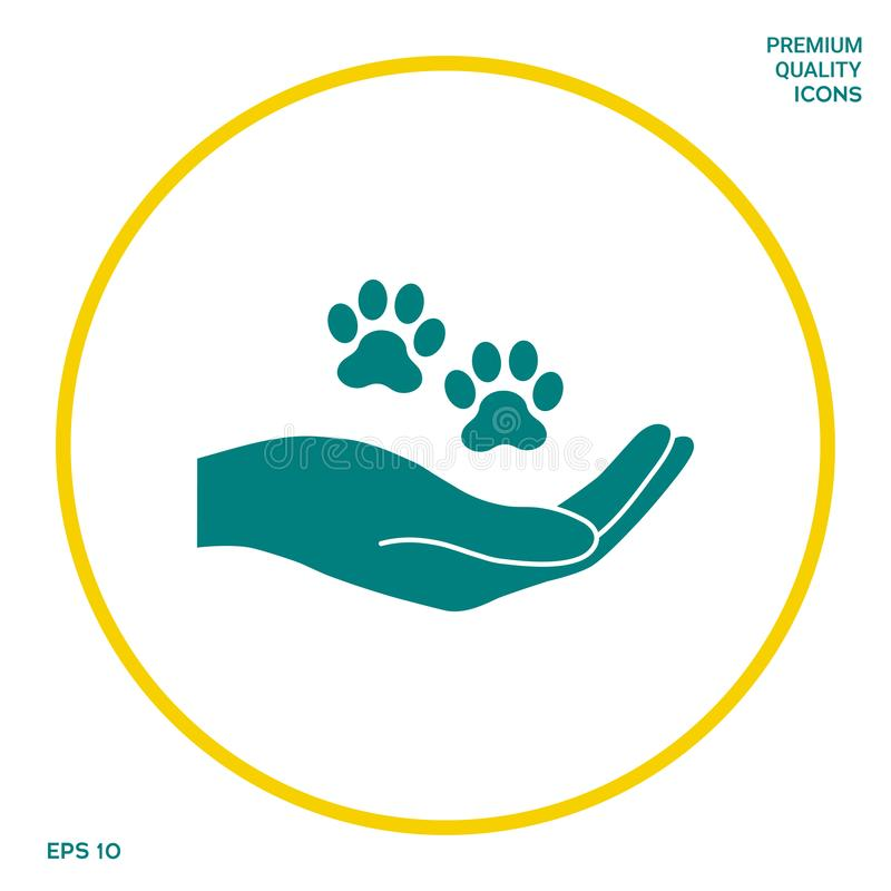 Hand holding paw symbol. Animal protection. Graphic elements for your design vector illustration