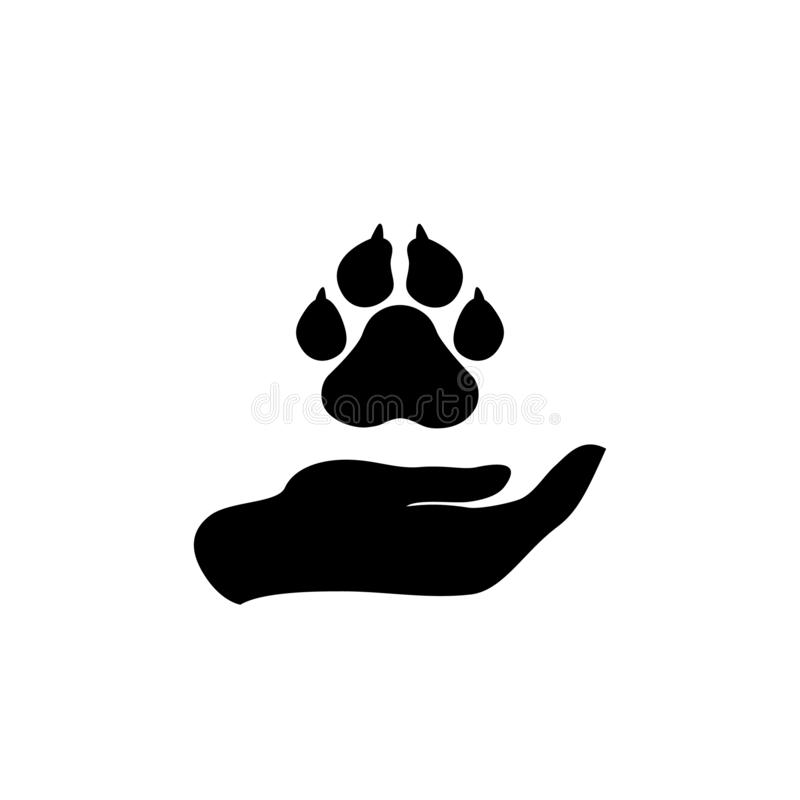 Hand holding paws - animal protection icon. royalty free illustration