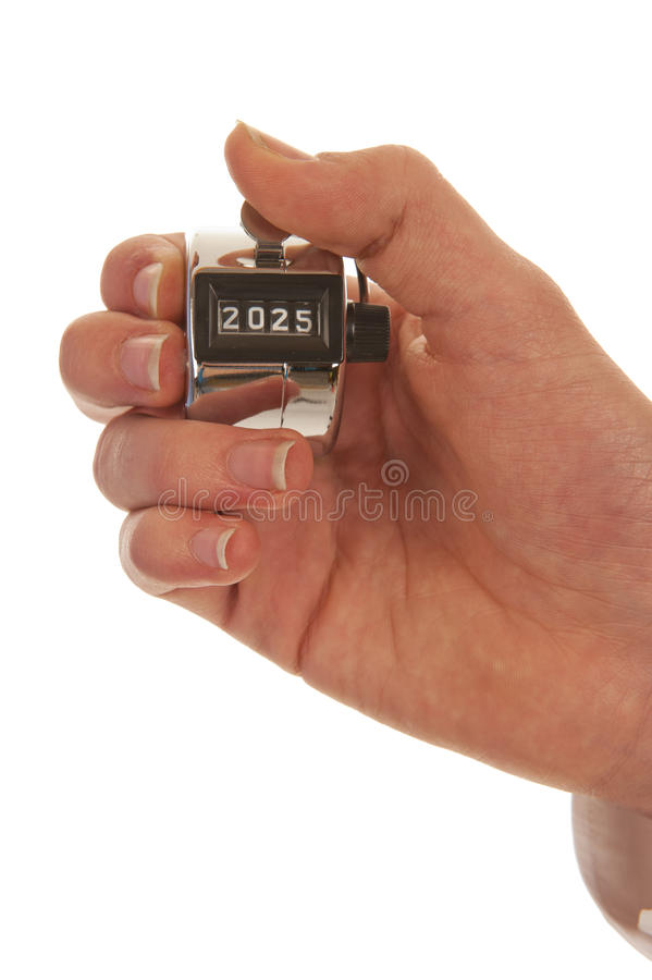 Hand holding a pedometer closeup royalty free stock photos