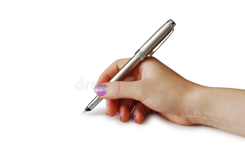 Hand holding pen isolated on white background royalty free stock photos