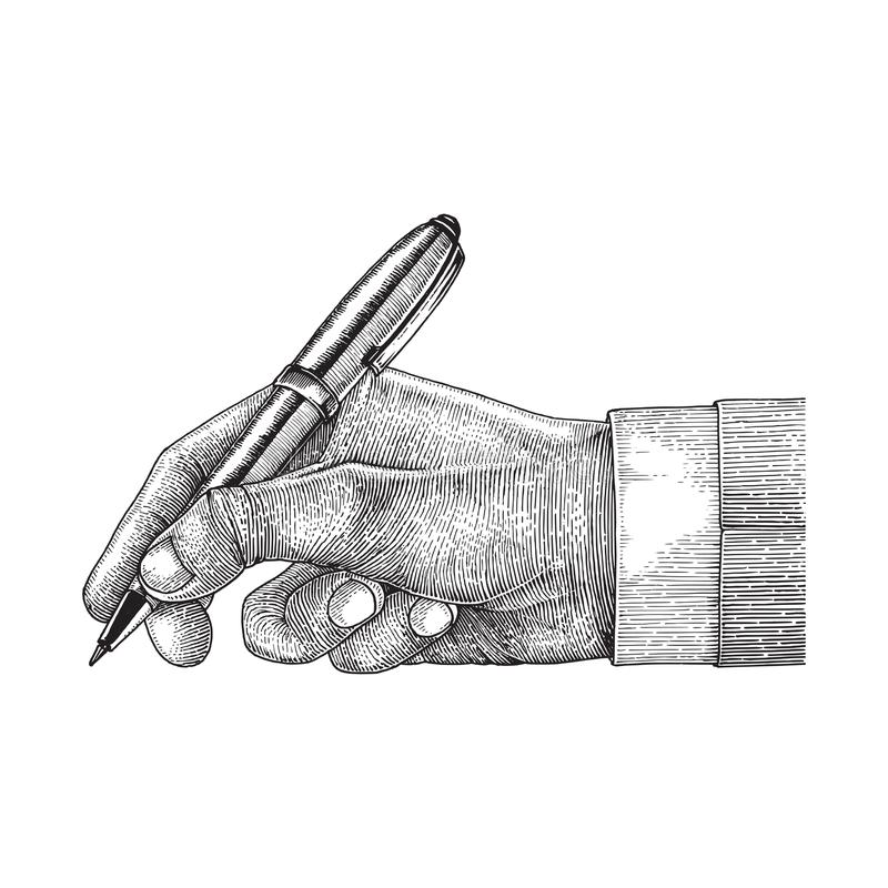 Hand holding pen,Business man vector illustration