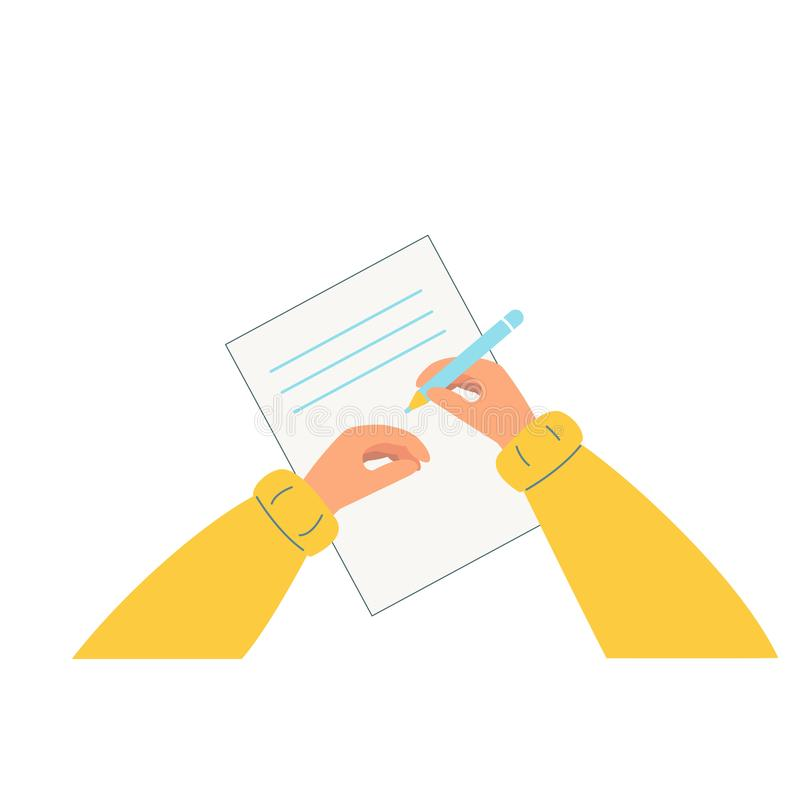Hand holding pencil. A person writes, draws on a piece of paper. vector illustration