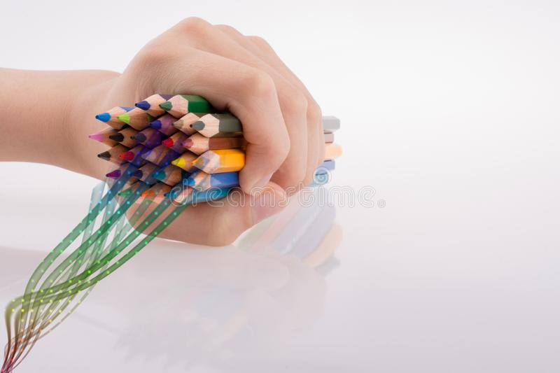 Hand holding pencils royalty free stock photo