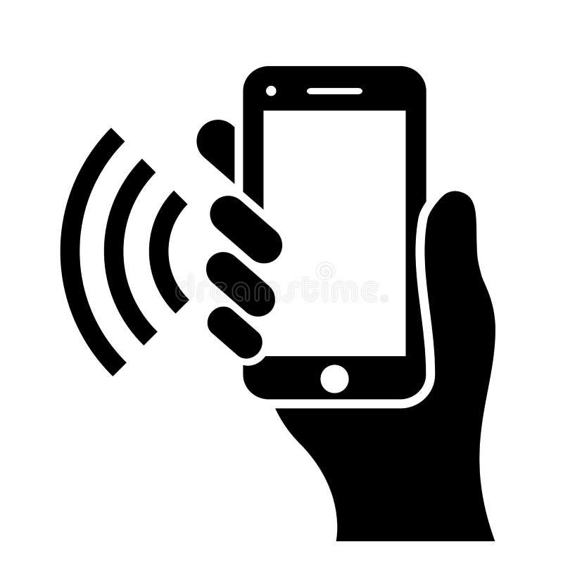 Hand holding phone icon royalty free illustration