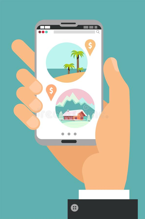 Hand holding phone with icons of travel agency, online booking concept. Choice between a beach holiday and a ski resort. Sea vs royalty free illustration