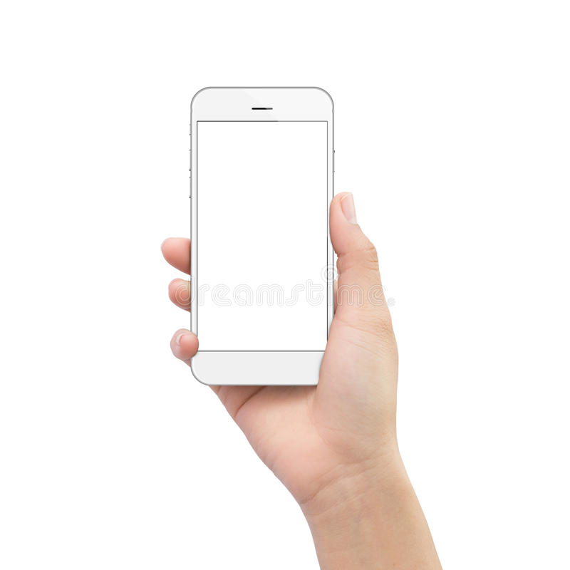 Hand holding phone isolated on white clipping path royalty free stock photography