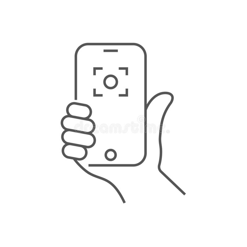 Hand holding phone, selfie icon. Trendy icon selfie on smartphone. Vector illustration. Editable Stroke. EPS 10. vector illustration