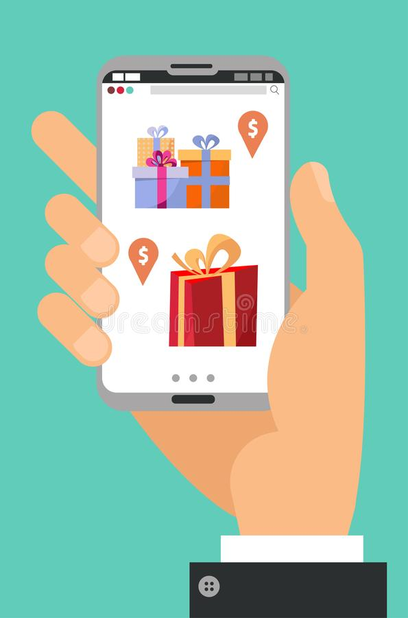 Hand holding phone. Hand with smartphone with gift boxes on the screen with price tags. Gift app page on smartphone screen. Mobile stock illustration
