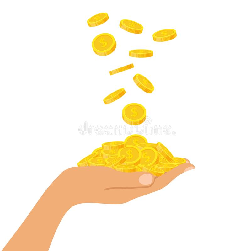Hand holding a pile of coins falling from above, icon flat finance heap, fall dollar coin pile. Golden money lying on vector illustration