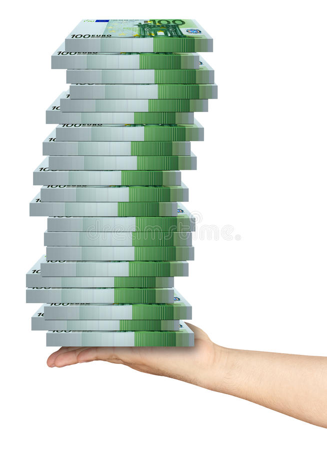 Hand Holding Pile Packs of 100 Euro Banknotes. Outstretched male arm holding pile of packs of 100 euro banknotes isolated on white background stock photo