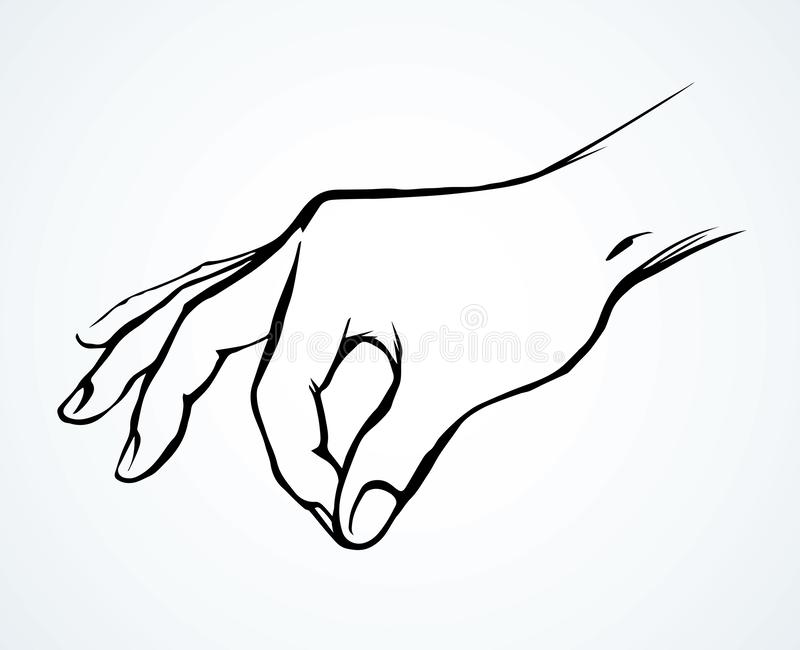 A hand is holding a pinch of salt. Vector drawing vector illustration