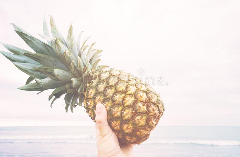Hand holding pineapple at beach stock photography