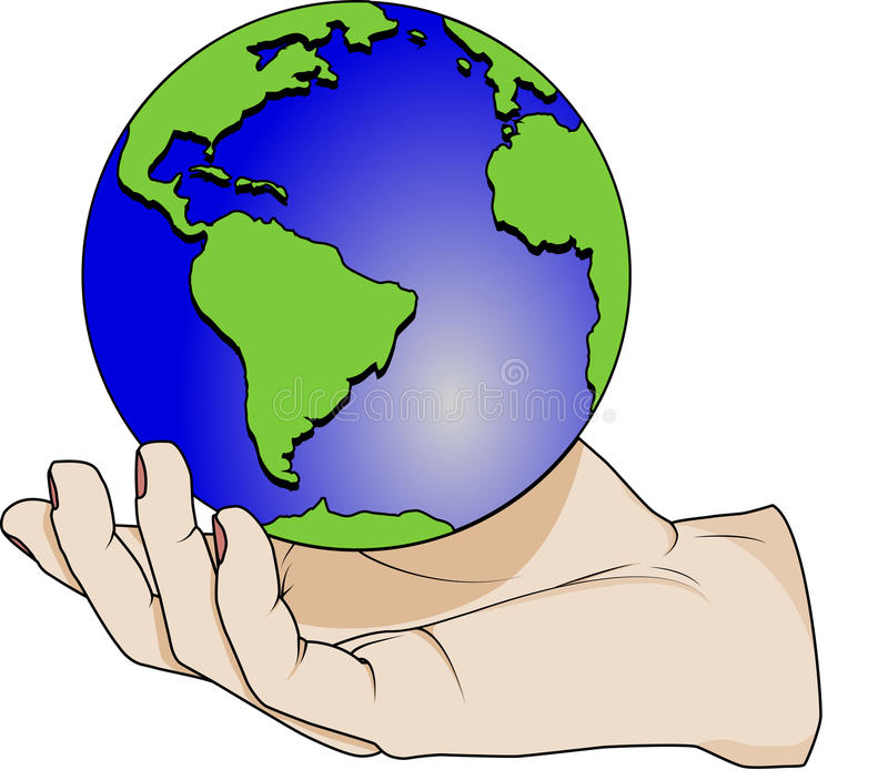 Hand holding a planet stock photo