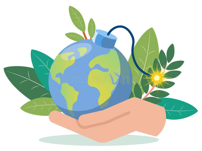 A hand is holding a planet earth imitation bomb. In minimalist style. Flat isometric vector vector illustration