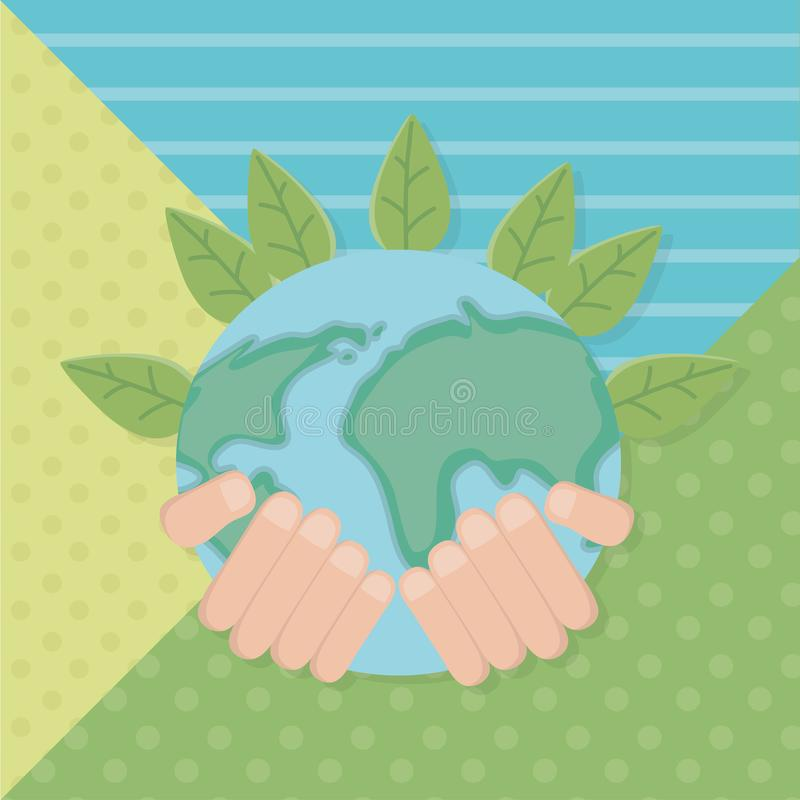 Hand holding planet and save energy design. Hand holding planet design, Save energy ecology power eco and environment theme Vector illustration royalty free illustration