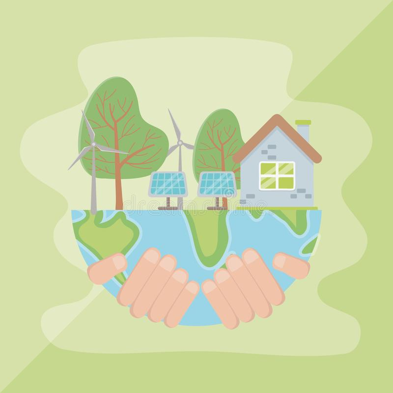 Hand holding planet and save energy design. Hand holding planet design, Save energy ecology power eco and environment theme Vector illustration vector illustration