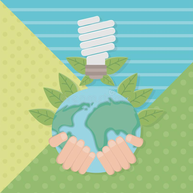 Hand holding planet and save energy design. Hand holding planet design, Save energy ecology power eco and environment theme Vector illustration stock illustration
