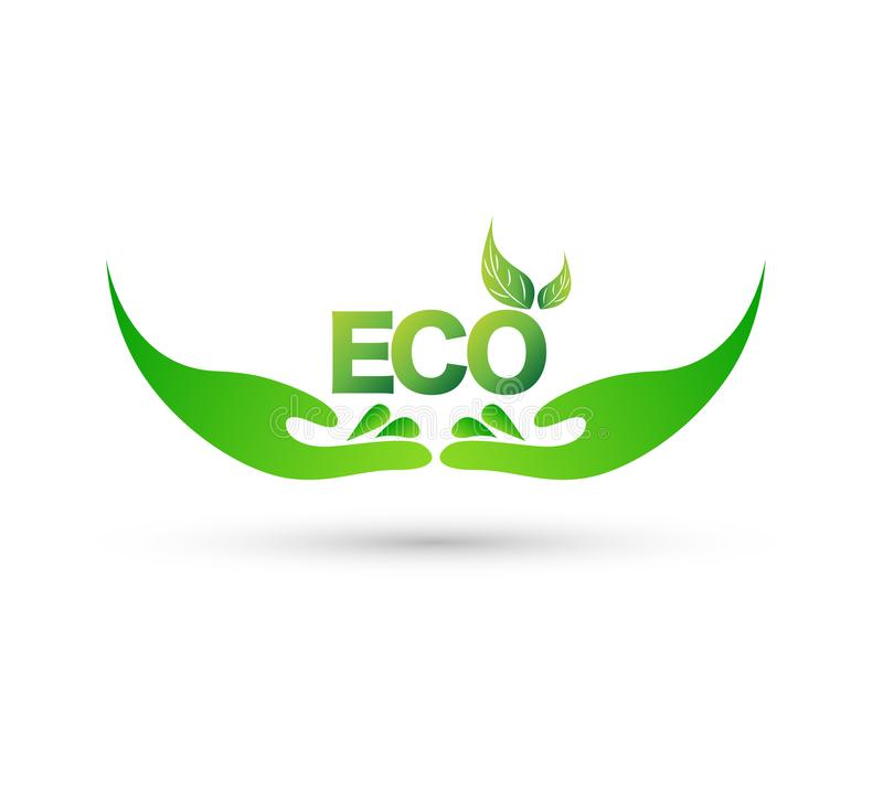 Hand holding plant with eco word, Leaf in hand icon, logo growth concept vector. vector illustration
