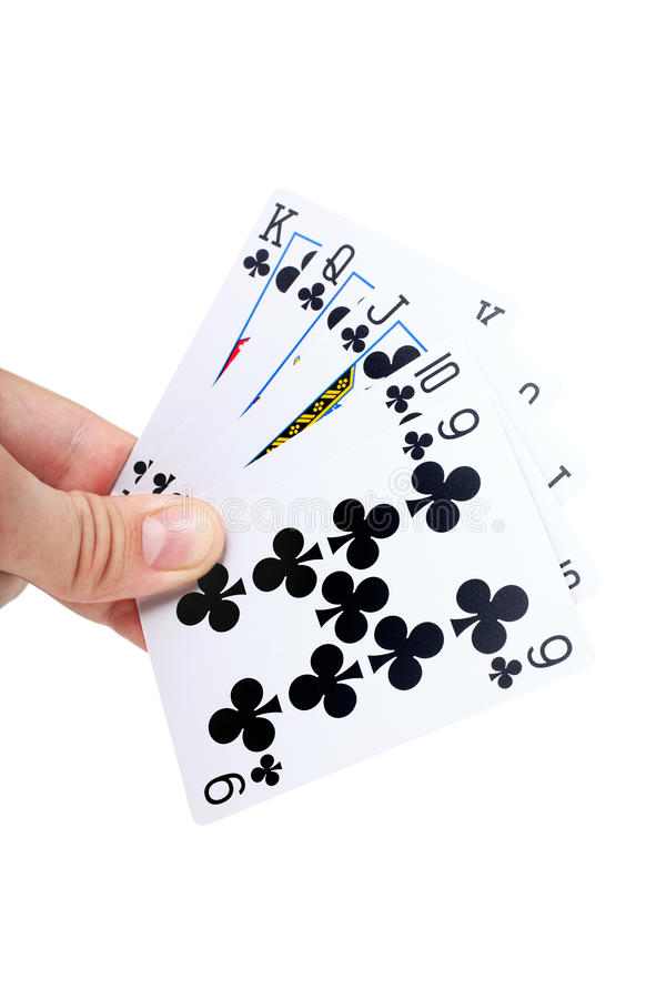 Hand holding Playing Cards isolated. On white background closeup royalty free stock photos