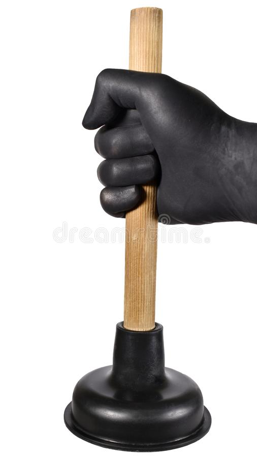 Hand with plunger. Hand holding plunger isolated on white background. Hand in glove using a plunger to cleaning royalty free stock image