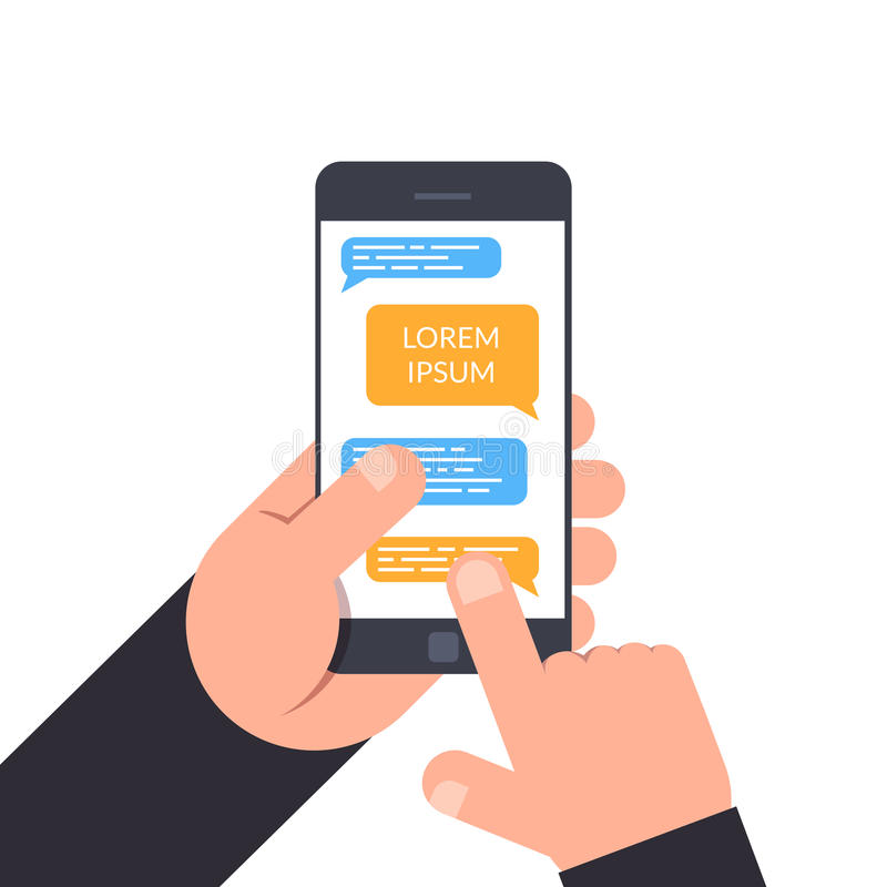 Hand holding and pointing to a smartphone. concept of design online chat, messenger, business correspondence with the royalty free illustration