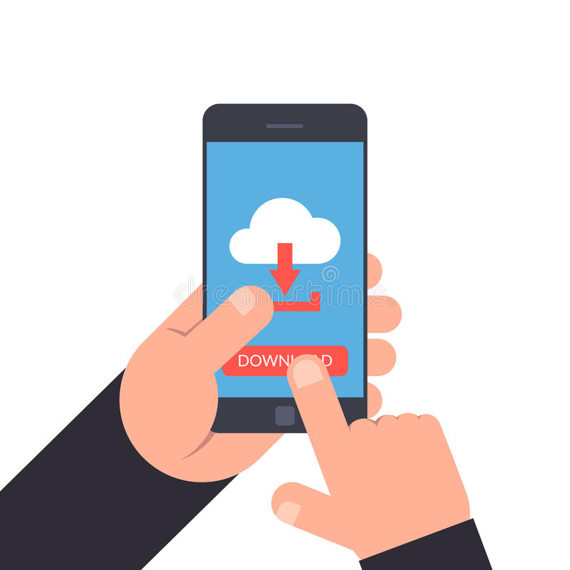Hand holding and pointing to a smartphone. Download or upload button. Cloud icon with arrow. Flat illustration isolated royalty free illustration