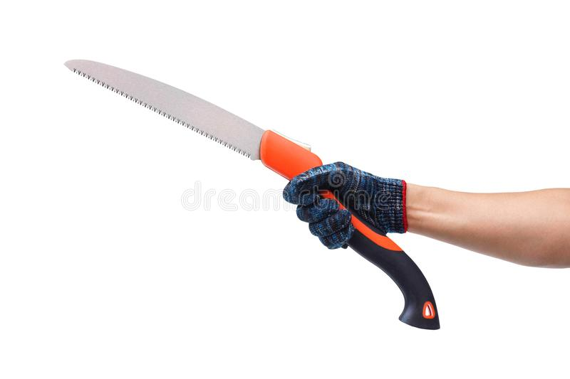 Pruning saw. Hand holding a pruning saw isolated on white background stock images