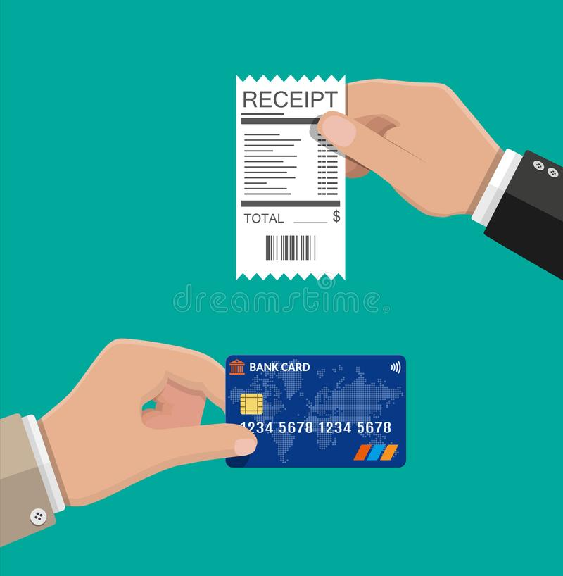 Hand holding receipt and credit card. stock illustration