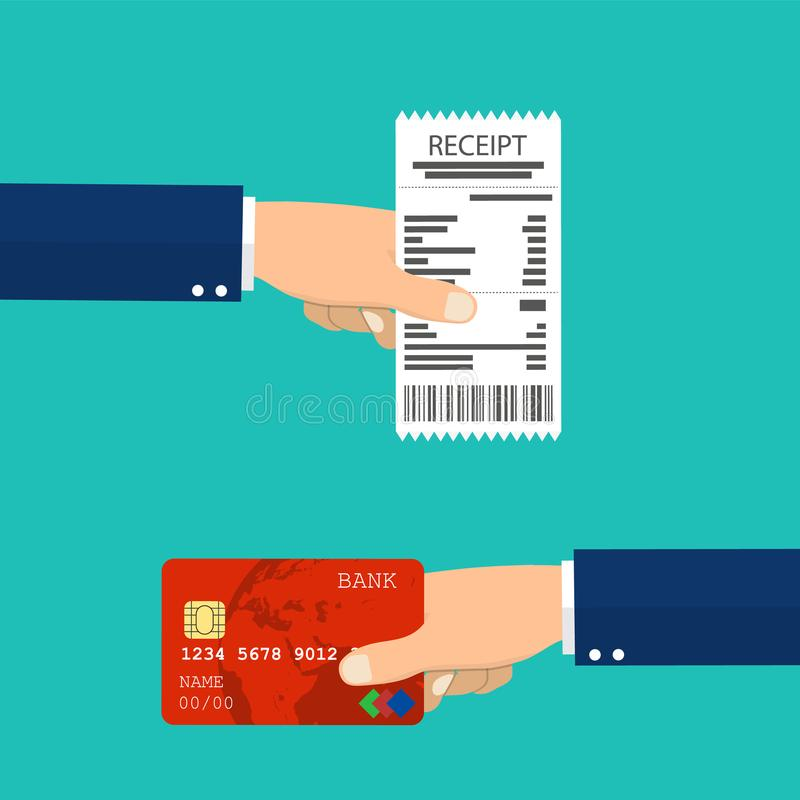 Hand holding receipt and hand holding credit card. vector illustration
