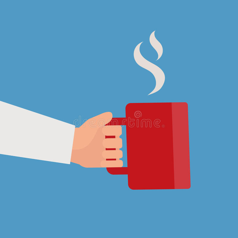 Hand holding red cup of hot drink stock illustration