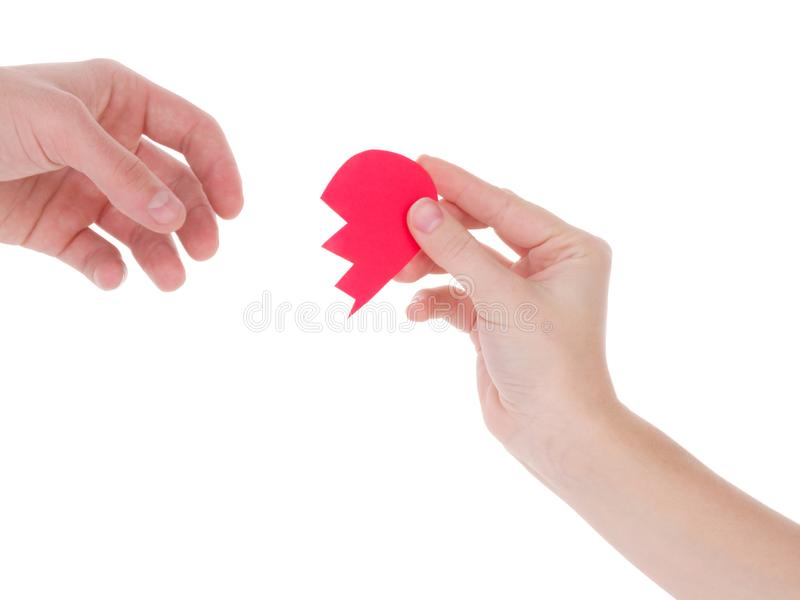 Hand holding a red heart.the concept of love, Valentines day, symbol and romantic. red heart for gift royalty free stock image