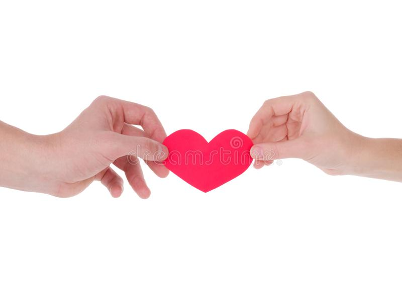 Hand holding a red heart.the concept of love, Valentines day, symbol and romantic. red heart for gift royalty free stock photography
