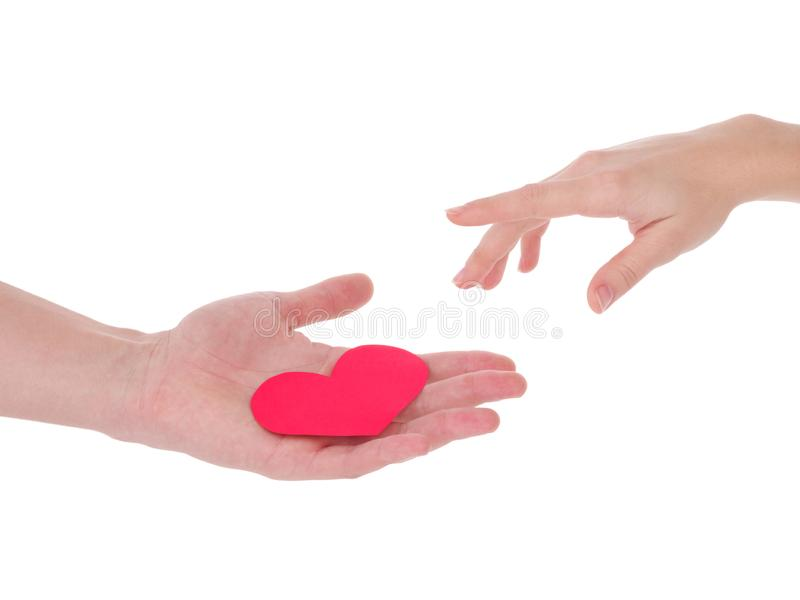 Hand holding a red heart.the concept of love, Valentines day, symbol and romantic. red heart for gift royalty free stock photos